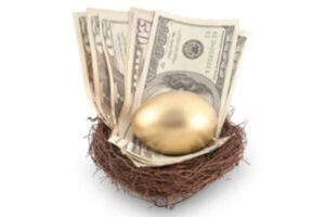 Nesting After Divorce: nest with money and egg