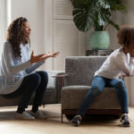 Parental Alienation: woman and young daughter fighting